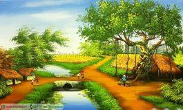 Tranh sơn dầu làng quê